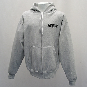 Gray Hooded Zip Front Sweatshirt