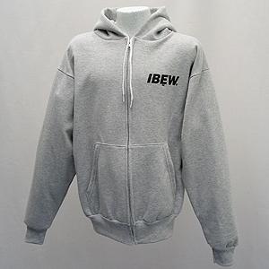 Gray Hooded Zip Front Sweatshirt